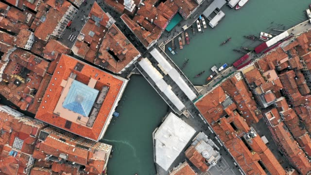 Aerial overhead of Rialto bridge and Grand Canal, Venice