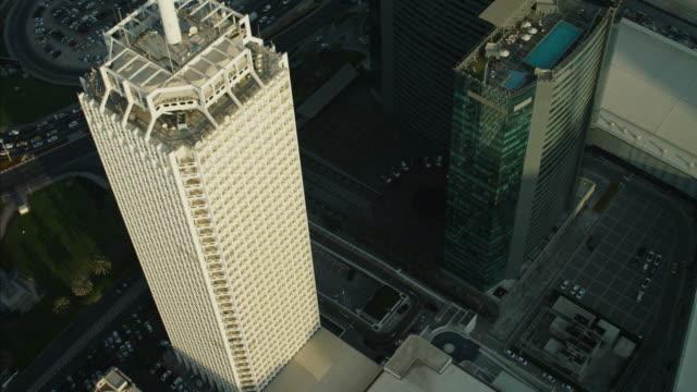 aerial overhead skyscraper sheikh zayed road dubai uae - tower stock videos & royalty-free footage