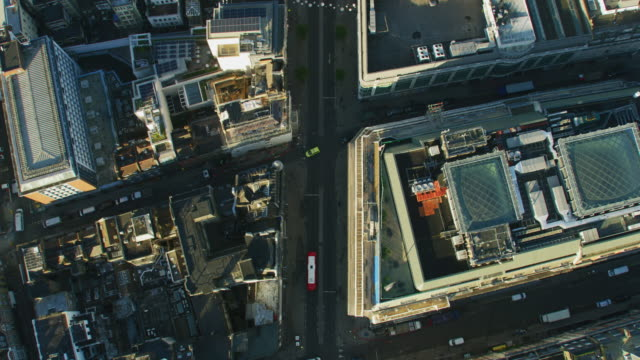 aerial overhead sunrise view oxford street rooftops london - twilight stock videos & royalty-free footage