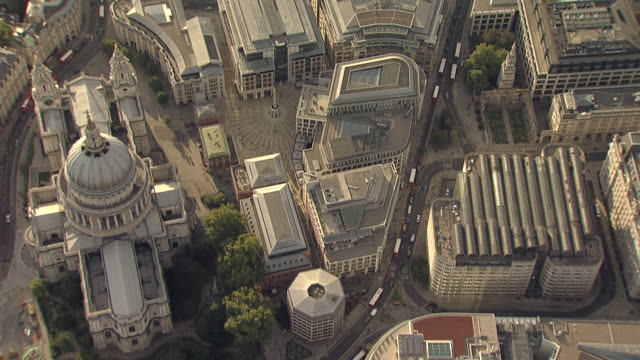 'Aerial Overhead tracking shot City of London , Fleet Street to Aldwych'