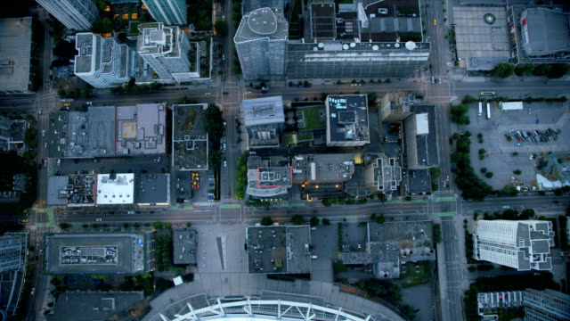 Aerial overhead view downtown Vancouver British Columbia Canada