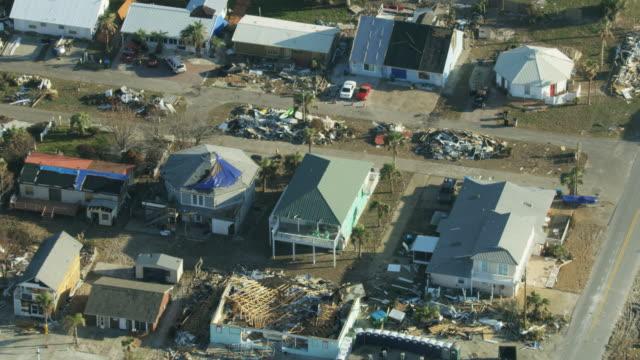 Aerial overhead view Hurricane devastation damaged property USA