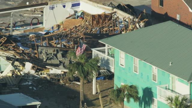 aerial overhead view hurricane devastation to property america - vortex stock videos & royalty-free footage