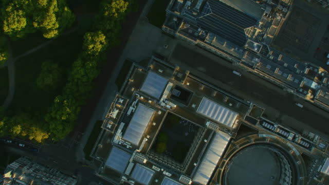 aerial overhead view imperial war museum london sunrise - twilight stock videos & royalty-free footage