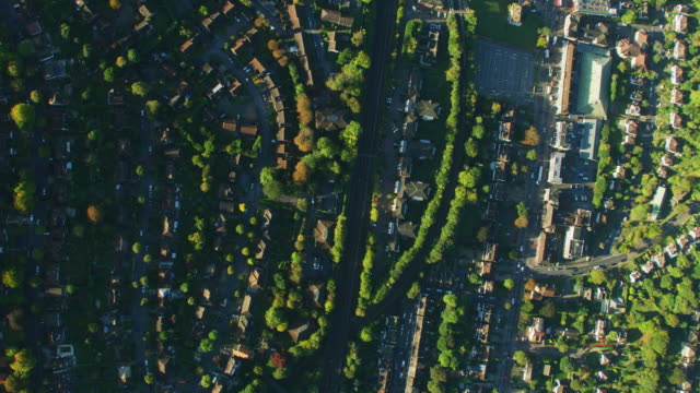 aerial overhead view london residential neighbourhood at sunrise - twilight stock videos & royalty-free footage