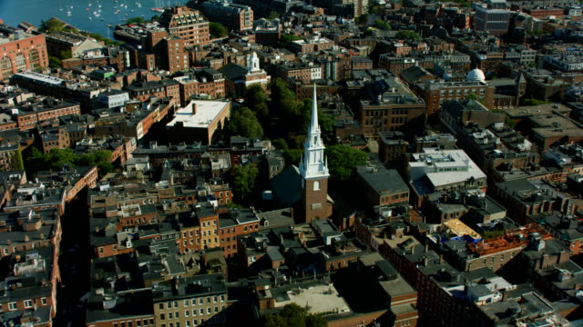 aerial overhead view north church and tower boston - old north church stock videos & royalty-free footage
