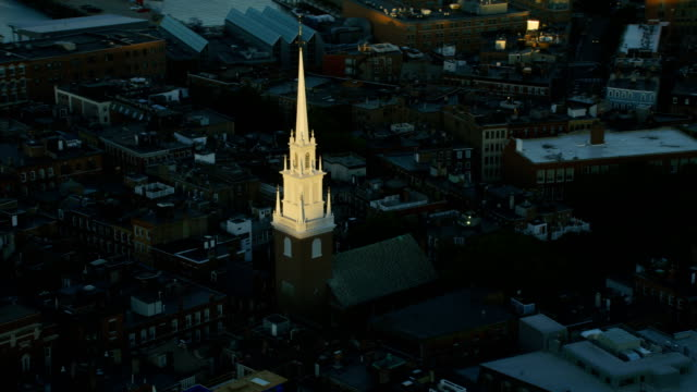 aerial overhead view north church and tower boston - kirchturmspitze stock-videos und b-roll-filmmaterial