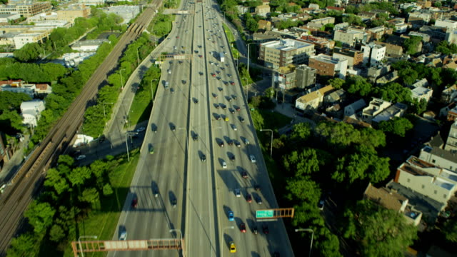 Aerial overhead view of Chicago freeway traffic USA