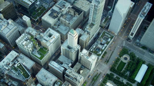 Aerial overhead view of Millennium Park Chicago Illinois