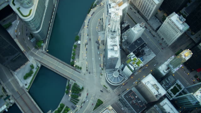 Aerial overhead view of modern skyscrapers Downtown Chicago