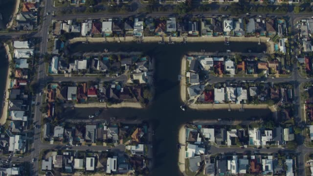 aerial overhead view waterfront residential homes gold coast - coastal feature stock videos & royalty-free footage