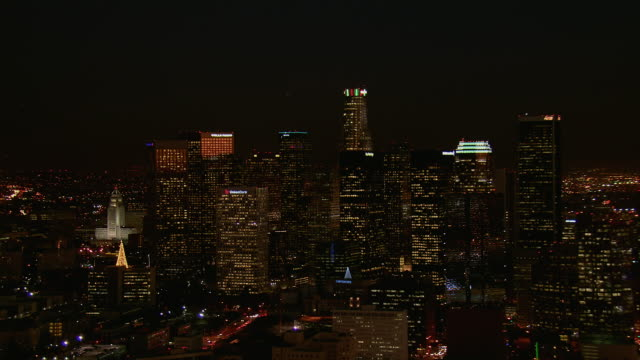 Aerial Pan Across Downtown LA At Night