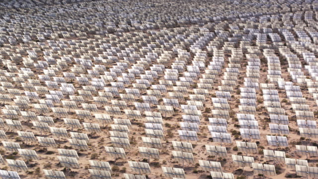 Aerial Pan Across Heliostats at Concentrated Solar Thermal Plant