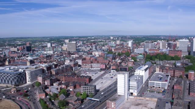 stockvideo's en b-roll-footage met aerial pan across leeds city centre - leeds