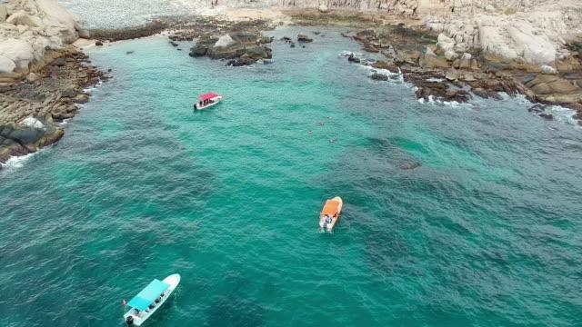 Aerial Pan: Boats Near the Rocks