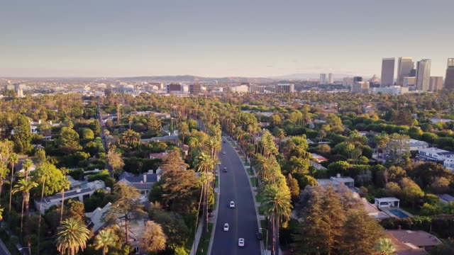 aerial pan aus beverly hills, century city - century city stock-videos und b-roll-filmmaterial
