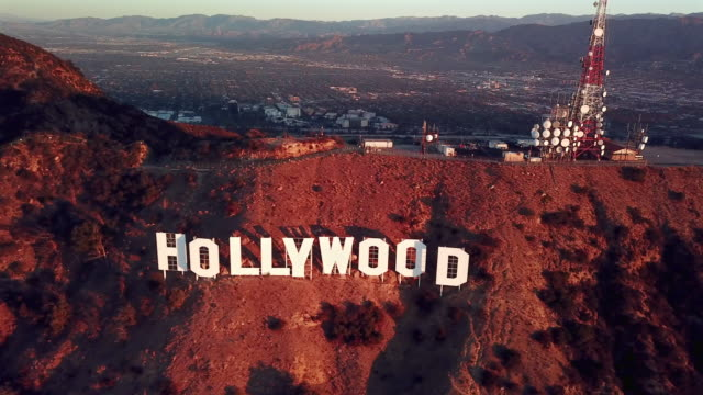 Aerial Pan: Hollywood Sign, Los Angeles at Sunset