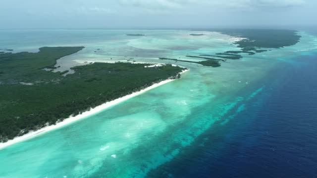 aerial pan left over aldabra atoll, seychelles - seychelles stock videos & royalty-free footage