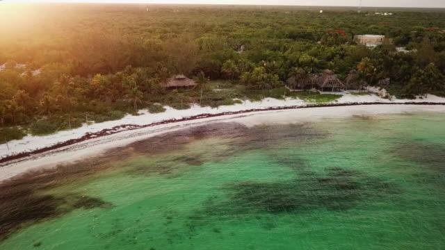 vídeos y material grabado en eventos de stock de aerial pan left to right: peaceful shorelines of mexico beach - playa del carmen