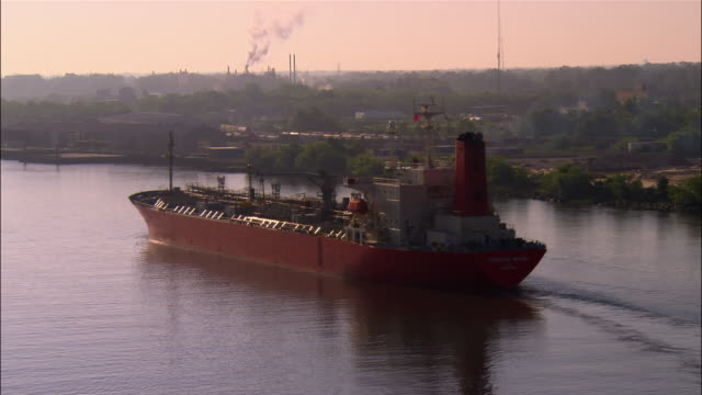 aerial pan oil tanker on savannah river/ savannah, georgia - tanker stock videos & royalty-free footage