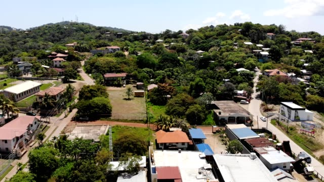 Aerial pan over a low income village of Oakridge Honduras