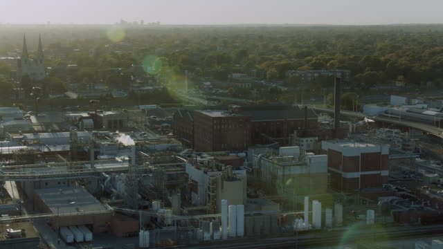 Aerial Pan Over Chemical Plant In St Louis