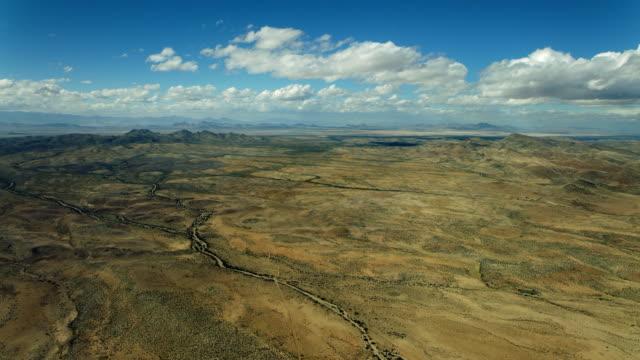 Aerial Pan Over Desert Landscape In Southwest