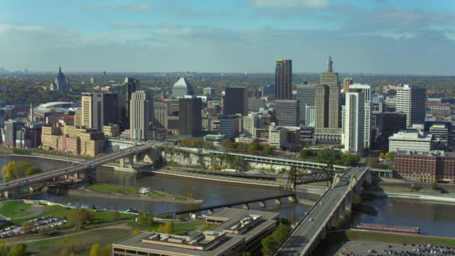 aerial pan over downtown st paul - minnesota stock videos & royalty-free footage