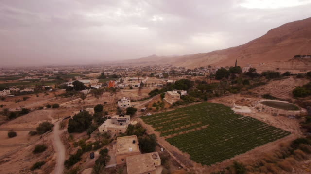 Aerial Pan Shot of Jericho near the Mount of Temptation
