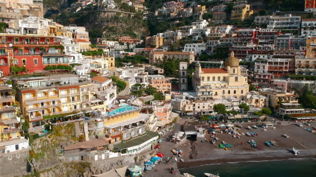 Aerial Pan View of the City in Positano Italy