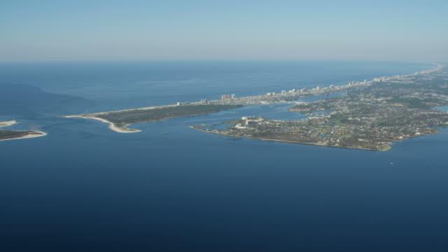 aerial panama city beach condominium resort florida usa - saint andrews bay video stock e b–roll