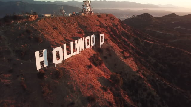 Aerial Panning: Hollywood Sign At Sunset
