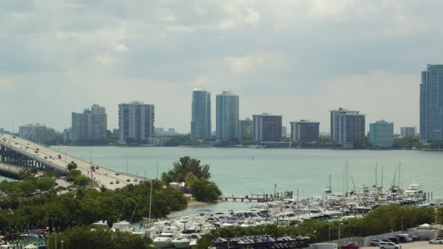 Aerial panning over the Rickenbacker Marina and Causeway
