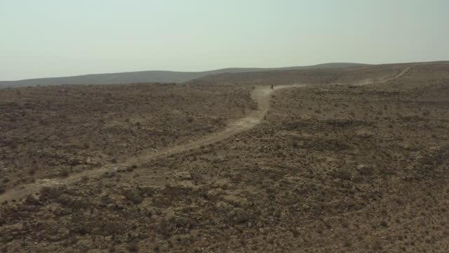 aerial panning shot of biker on track at semi-arid desert, drone flying forward over landscape against sky on sunny day - negev, israel - öde landschaft stock-videos und b-roll-filmmaterial