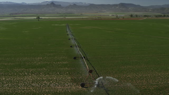 stockvideo's en b-roll-footage met aerial panning shot of irrigation equipment watering crop on farm / aurora, utah, united states - water geven