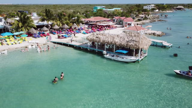 Aerial panning shot of tourists enjoying at beach on sunny day, drone flying over people in sea - San Pedro, Belize