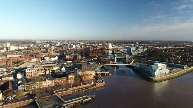 aerial panning shot over hull riverside - hull stock videos & royalty-free footage