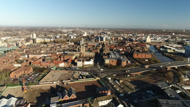 aerial panning shot over hull - harbour stock videos & royalty-free footage