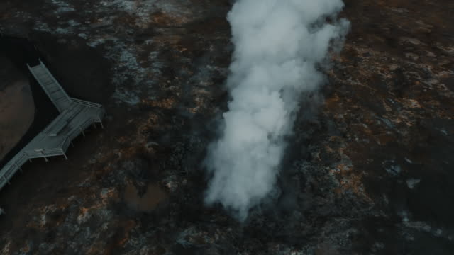 aerial panning shot showing smoke rising from gunnuhver hot springs, iceland - sustainable tourism stock videos & royalty-free footage