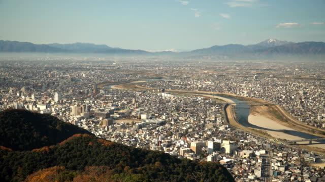 岐阜県岐阜市のパン空撮 - mountain range点の映像素材/bロール