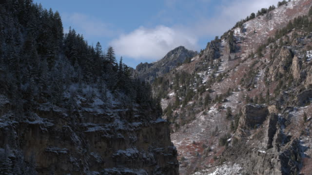 Aerial panning view of snow covered cliffs