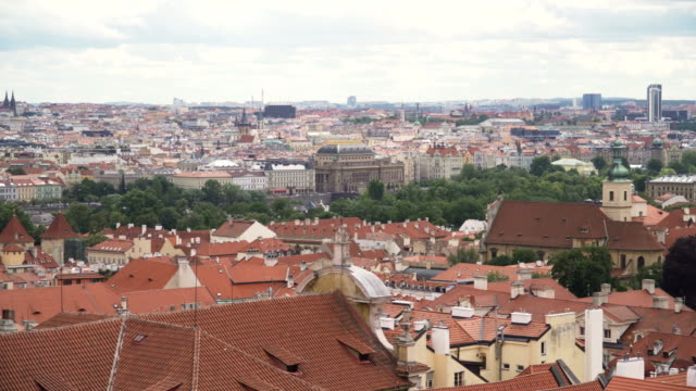 aerial panning view: old prague city view from mountain - traditionally czech stock videos & royalty-free footage
