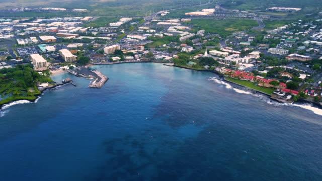 aerial panorama of kailua-kona bay, hawaii. usa - big island hawaii islands stock videos & royalty-free footage