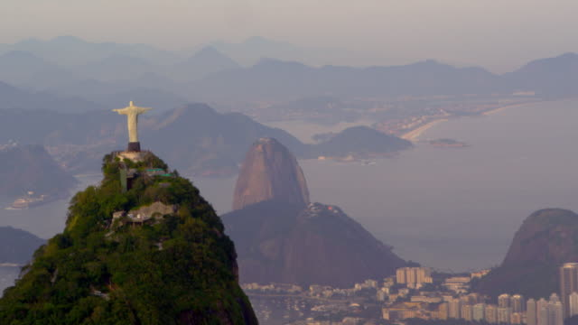 aerial panorama of rio, christ statue - statue stock videos and b-roll footage