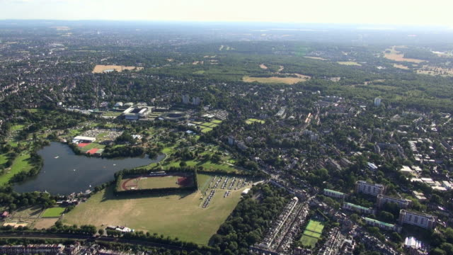 Aerial panorama of the All England Lawn Tennis Club at Wimbledon, including Wimbledon Park and Lake, with views over Wimbledon Common and south west London
