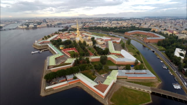 aerial panorama of the peter and paul fortress, saint petersburg - st. petersburg russia stock videos & royalty-free footage