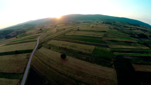 aerial panorama over green fields farms summer - cotswolds stock videos & royalty-free footage