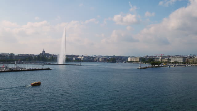 aerial panorama view of geneva city - fountain stock videos & royalty-free footage
