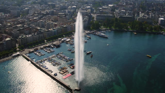 aerial panorama view of geneva city - fountain stock videos and b-roll footage