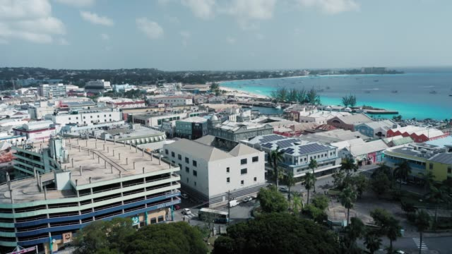 aerial panorama with view of saint michael's cathedral in bridgetown, barbados - chapel stock videos & royalty-free footage
